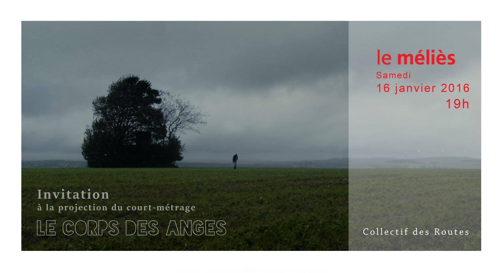 Le Corps des Anges invitation, Avant première, Le Méliès Projection Cinéma Benoît Duvette Collectif des Routes recto